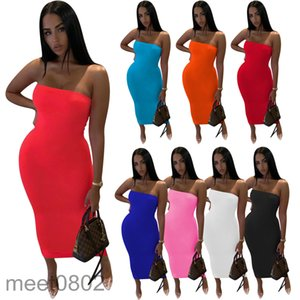 Women Casual Dresses 2021 summer Designer Fashion women's Solid color tube top dress simple One word collar Breast wrap Slim look skirt