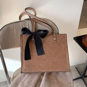2021 Women Big Office Handbags Totes Ribbon Crossbody Hand Bag Large Capacity Handbags Scrub PU Leather Shoulder Bag Purses New