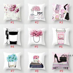 24 Designer Pillowcase Piccolo Profumo Bottle Bottle Series Stampa Federa Fashion Home Hotel Car Seat Cushion Cover EWD5063