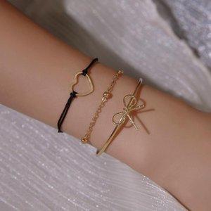 Ethnic Style 3-Piece Set Bow Heart-shaped Bracelet Charming Women's Party Gold Metal Bracelet Accessories Fashion Jewelry