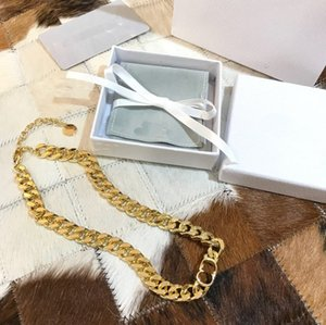 fashion CD letter necklace Cuban Chain Clavicle Necklace Hiphop Non-Fading Jewelry Necklace Factory wholesale brass plated bracelet women hx