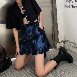 Skirts GAONO Womens Boho Street Tie Dye Y2K Skirt High Waist Ruffle Hem A Line Wrap Casual Stylish Bottoms 2021