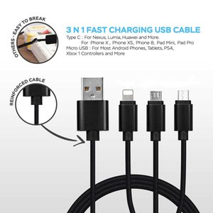 TOPK 3 Pack Fast 3 in 1 Multi Charging Cable Charger Cord Cell Phone Android Phone Black High Quality Whosale DHL Shipping