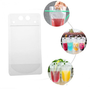 Clear Stand-up Beverage Bags Drink Coffee Plastic Zipper Packaging Bag Resealable Zip Lock Pouch Food Drinking Makeup Storage Bag YHM448