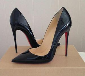 Новое Высочайшее качество 2021 Женщины Христиане Красные Днины Высокие каблуки Сексуальные Оправенные Носки Красная подошва 8 10 12 см Насосы Свадебные Платье Обувь ню черный блестящий