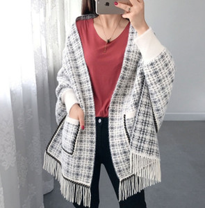 Fashion high-end new style cloak, small fragrance pocket, woven tassel shawl, plaid knit jacket, scarf with sleeves, cloak for women