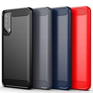 Прочный щит Ударосодержащий SOT TPU Матовый Телефон из углеродного волокна для Huawei P Smart 2021 Y7A Y7P Y6P Y5P P40 Nova 6 Se Honom V30 Pro
