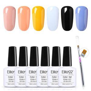 Elite99 10 мл 6 шт. / Комплект Чистые цвета Гель для ногтей Польский и кисточка для ногтей Установите умол УФ-светодиодные лакирующие маникюрные наборы