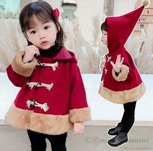 Christmas children red woolen coat girls hooded single breasted long sleeve outwear fall winter kids velvet thicken warm coats Q2508