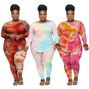 Women Two Piece Outfits Set Casual Tracksuit Women Clothes Tie Dye Long Sleeve T-Shirt And Pants Suits Plus Size Clothing