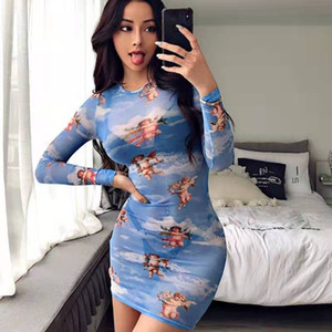 sale2019 On summer Sexy Screen perspective dress long sleeve Cupid Angel digital printing hip skirt