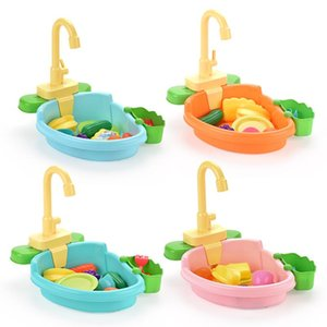 Kids Simulation Kitchen Dishwasher Toy Pretend Play House Games Baby Toys Electric Water Wash Basin Vegetable Fruit Kids Gifts