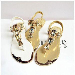 Padegao mujer Sandalias 2020 Moda de alta calidad Rhinestone Women Flip Shoes Zapatos Damas Casual Summer Beach Zapatos PDG752 F03N #