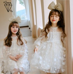 Girls Stereo petals Gauze dress 2021 new kids lace puff sleeve princess dress children white flowers party dresses A5846