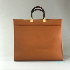 Novo famosa designer ff sacos de compras com alça superior para mulheres senhora top qualidade genunie womens moda roma praia bolsa marrom