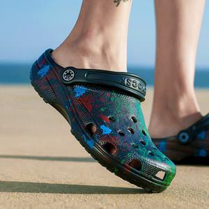 Men's Sandals Crok-hole Crok-rubber Clogs Eva Unisex Black Garden Shoes Crochet Flat Beach Slipperskm7 L0yj