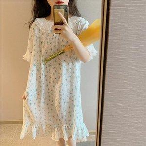 Women's Sleepwear Full Cotton Women Nightgowns Floral Print Turn Down Collar Short Sleeve Summer Nightdress Casual Dress Homewear Y669