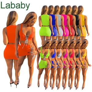 Sexy Women 2 Piece Dress Set Spring Summer Sexy Beach Clothing New Sleeveless Skirt Lace Up Suit 2021