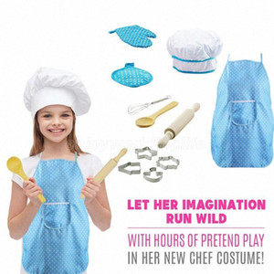 Childrens Baking Cooking Apron Chef Costume Sets For Kids Girls Boys Cooking Game Kitchen Baking Cake Mould 11pcs Set