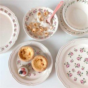 Französischer Retro-Blumen-Keramik-Platte, Abendessen-Joghurt-Salat-Dessertschüssel, Hochzeitset. J0526.