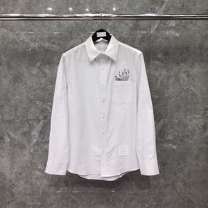 Мужской с длинным рукавом рубашки мужчина бизнес формальная одежда мужская социальная стройная подходит дизайн платье платье утка шаблон печатает мода мужская повседневная футболка