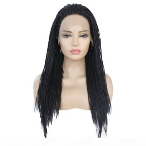 Natural black cornrow braids Synthetic Lace Front Wig Heat Resistant Fiber Hair Half Hand Tied Wigs For Women