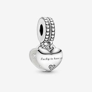 Nouveau 100% 925 Sterling Silver Fille - Mère en droit Split Dangle Charm Fit Original Européen Charm Bracelet Fashion Bijoux Accessoires