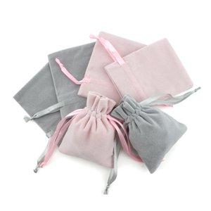 5 قطع (8x10 سنتيمتر) الوردي والرمادي اللون الفانيل أكياس الفانيلا مجوهرات هدية عرض أكياس التعبئة المخملية الرباط الحقائب هدية أكياس