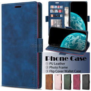 PU Leather Wallet Phone Case for Samsung Galaxy S20 Note20 Ultra S10 Note10 S9 Plus iPhone 12 Pro Max Solid Color Flip Stand Cover Case