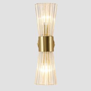 Lámpara de pared de cristal moderno de oro 2 cabezas Sconco creativo para la habitación de la cama Restaurant Hall Aisle Corridor Fixture 110V 220V