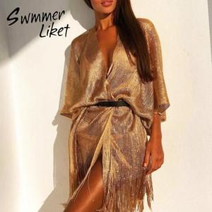 Womens Bademode Fransen Strand tragen Gold Bikini Gossamer Kaftan Strandkleid Frauen Sexy Badeanzug Cover-ups Weibliche Badebekleidung Frauen