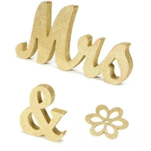 Lanlan Lettere in legno MRS MRS Segno Tavolo da sposa Decorazioni Gold Glitter Silver Glitter Sweetheart Tools-35
