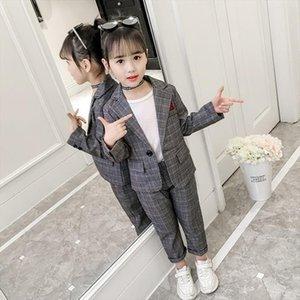 Fashion Wedding Kids Suit For Girls Formal Pant Suits Teenagers 2pcs Blazer Set Brand Plaid Children 4 5 7 9