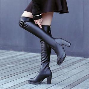 Donne Nuova Autunno sopra gli stivali del ginocchio Donna PU Leather Zipper Womens Tacchi alti Botas Femmina Sexy Piattaforma Sexy Ladies Moda Scarpe A3E1 #