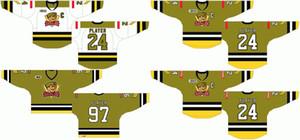Ucuz Özelleştirilmiş 1998 99-2008 09 Ohl Erkek Bayan Çocuklar Çimen Yeşil Beyaz Stiched Kuzey Bay Taburu Logolar Ontario Hokey Ligi Formalar