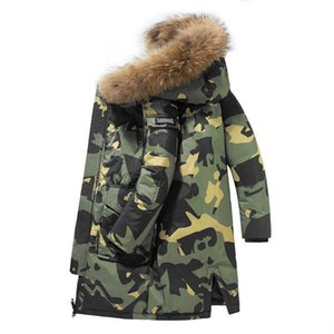 Men's Winter Long Down Jackets Thick Warm Parkas Coats Casual Fur Collar Hooded Camouflage Windbreaker White Duck Jacket