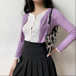 2021 Fashion Womens New Girl Simple Double Layer Spring Sexy Purple Fake Show Belly Button Knitted Sweater Womans Q003