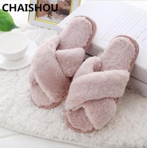 CHAISHOU Winter Women Slippers Flat Sweet Home Slippers Fur Warm Soft Slip On Black Pink Grey Female Slipper F 215 Cheap Boots High He r6K3#