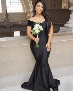 Black Bridesmaid Dresses Off the Shoulder Mermaid 2021 Custom Made Maid of Honor Gown Pus Size African Dubai Garden Wedding Vestidos