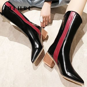 Ribetrini Fashion Women Patent Stat Motorcyle Boots 2019 Talón de madera Punto de madera Punta de punta Mujer Microfibra Mid becerro botas de invierno botas P9hR #