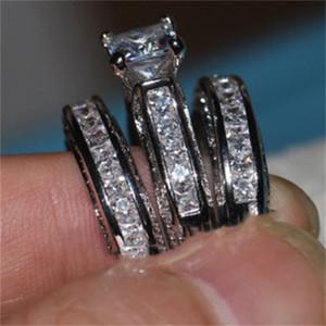 Vecalon Fine Ювелирные Изделия Принцесса Среза 20CT CZ Diamond Обручальное Обручальное кольцо Установите для Женщин 14kt Белое Золото Наполненное Палевое кольцо 12 R2