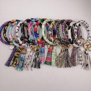 Bracelete chave pulseira de pulso fechado chaveiro chaveiro pu chave de couro leopardo pulseira de girassol bracelete chapéu chaves presente de festa de festa 24 cores wy17q