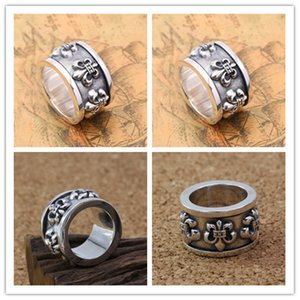 925 sterling silver vintage handmade anchors thick band rings American European punk gothic designer antique silver luxury jewelry