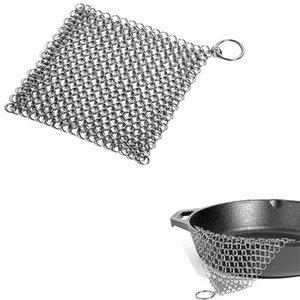 8 inç Paslanmaz Çelik Dökme Demir Temizleyici Scrubber 20 * 20 cm Mutfak Temizleme Fırçası Tavalar Izgara Izgara Hollandalı Fırınlar Ev Ev Temiz Aracı