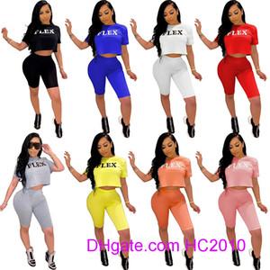 2021 Yaz Kadın Eşofman Tasarımcısı 2 Parça Kısa Kıyafetler Mektup Baskılı Giysi Rahat Kısa Kollu T-shirt Şort Suits Spor S-4XL Suits