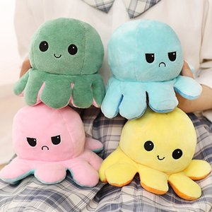 Hot Item 23 Styles Reversible Flip Octopus Stuffed Doll Soft Double-sided Expression Plush Toy Baby Kids Gift Doll New Year Festival Party