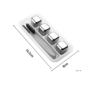 304 Stainless Steel Ice Cube Reusable Chilling Stones for Whiskey Wine Keep Your Drink Metal Ice Whiskey Red Wine Cooling EWD5572