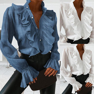 V-neck Women Elegant Blouses Blue White Ruffles Front Buttons Retro Shirts Office Lady Spring Autumn Long Sleeve Casual Tops