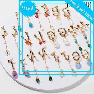 3 Umeter 2019 New Simple Baroque Pearl for Women Natural stone 26 Letter Name Earrings Poison Drop Shipping