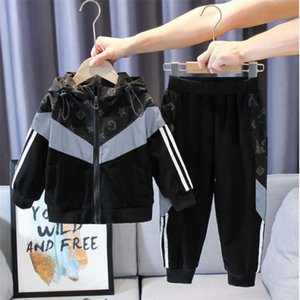 Kids Boys' reflective hooded jacket coat and pants set 100-170CM children teenages two-piece outfifts fashion tracksuit sports casual outwear clothing suit L91401N